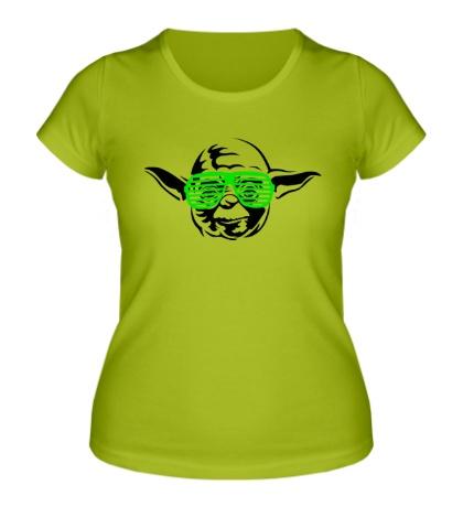 Женская футболка Йода в очках жалюзи