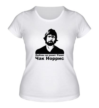 Женская футболка Чак Норрис ранит
