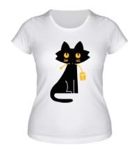 Женская футболка Кошка с мышкой
