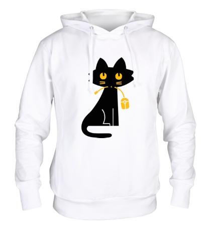 Толстовка с капюшоном Кошка с мышкой