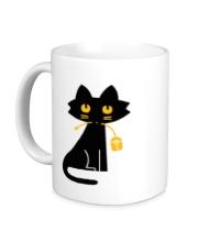 Керамическая кружка Кошка с мышкой