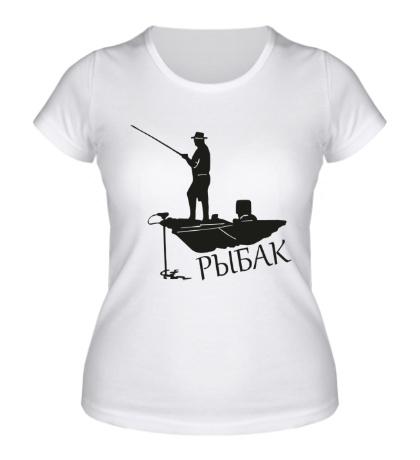 Женская футболка Рыбак в лодке