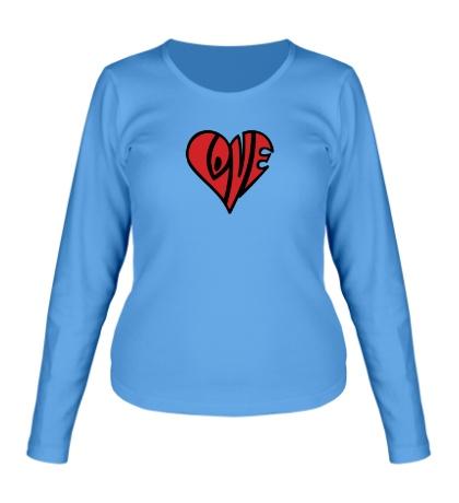 Женский лонгслив Love сердце