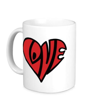 Керамическая кружка Love сердце