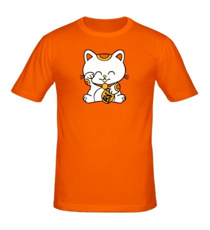 Мужская футболка Манэки-нэко кошка зовущие счастье