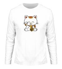 Мужской лонгслив Манэки-нэко кошка зовущие счастье