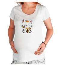 Футболка для беременной Манэки-нэко кошка зовущие счастье
