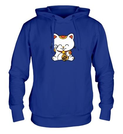 Толстовка с капюшоном Манэки-нэко кошка зовущие счастье