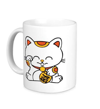 Керамическая кружка Манэки-нэко кошка зовущие счастье