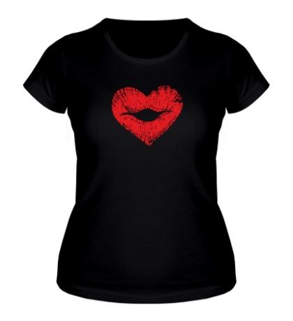 Женская футболка Поцелуй губы в виде сердца
