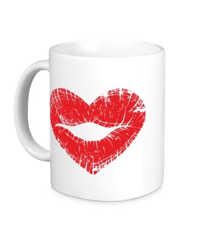 Керамическая кружка Поцелуй губы в виде сердца