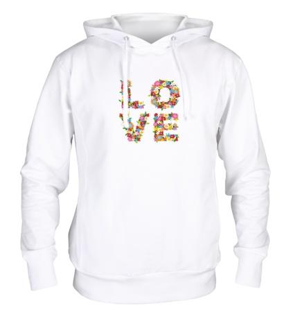 Толстовка с капюшоном Love цветами