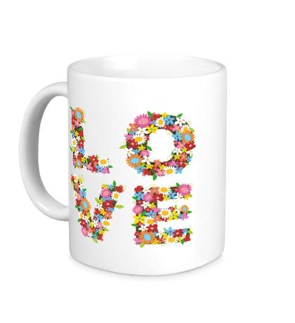 Керамическая кружка Love цветами