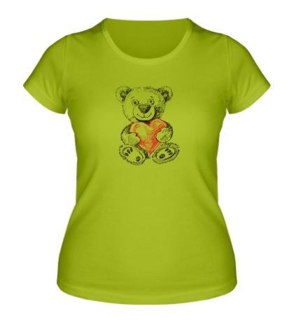 Женская футболка Мишка с сердцем