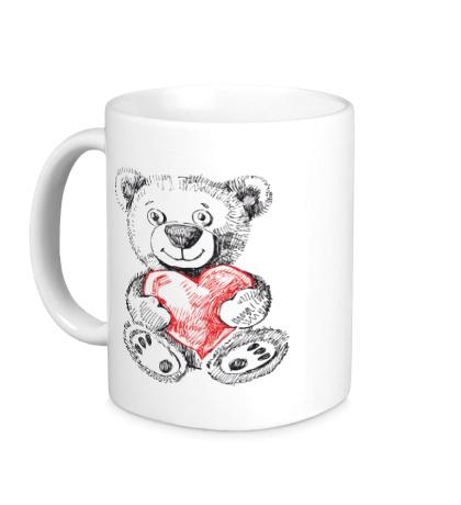 Керамическая кружка Мишка с сердцем