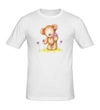 Мужская футболка Мишка на лугу