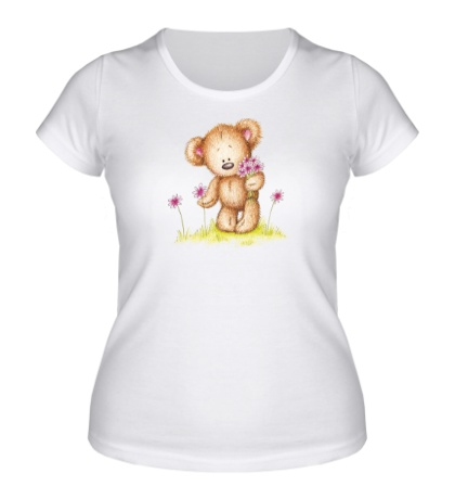 Женская футболка «Мишка на лугу»