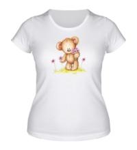 Женская футболка Мишка на лугу
