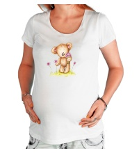 Футболка для беременной Мишка на лугу