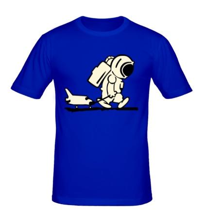 Мужская футболка Ребенок космонавт с шаттлом светится
