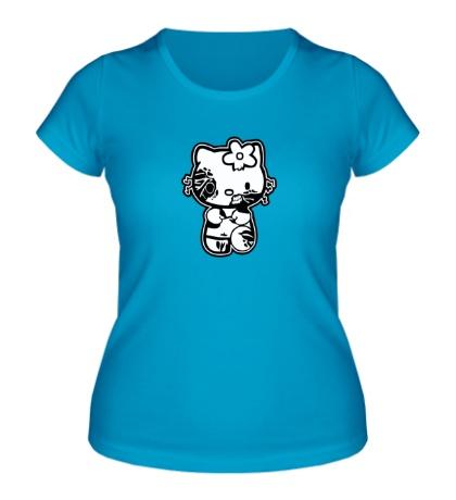 Женская футболка Kitty zombie