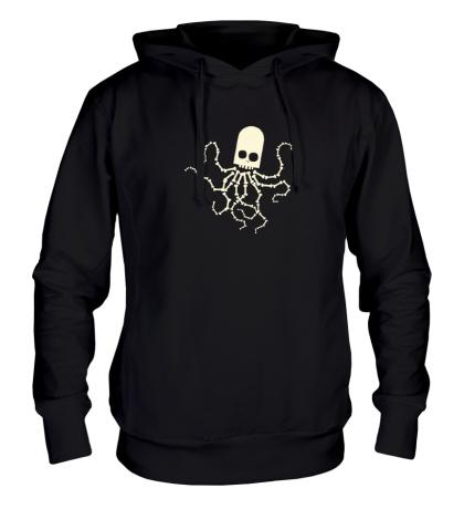 Толстовка с капюшоном Скелет осьминога, свет