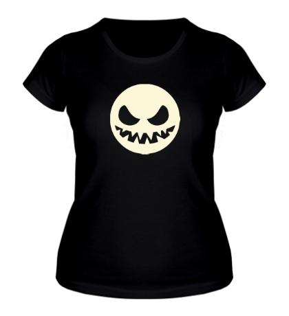 Женская футболка Светящийся злой смайл