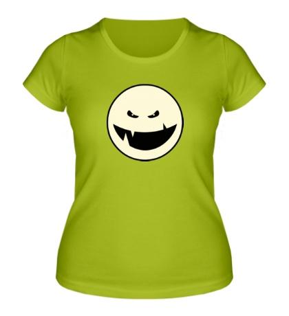 Женская футболка Светящийся монстр с клыками