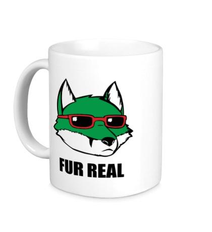 Керамическая кружка Зеленая лиса в очках