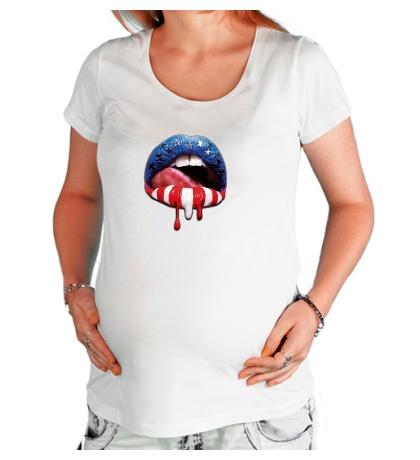 Футболка для беременной «Сладкие губы»