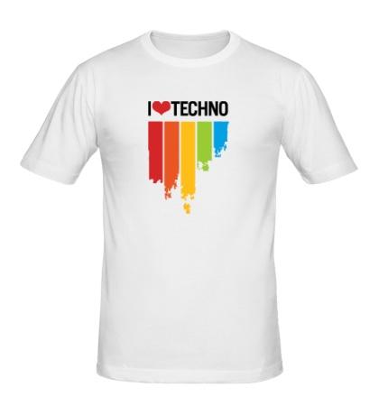 Мужская футболка I love Techno Colors