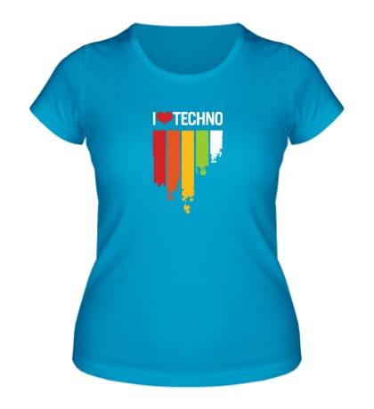 Женская футболка I love Techno Colors