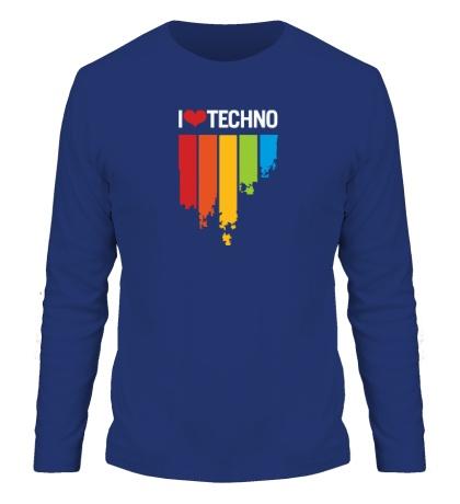 Мужской лонгслив «I love Techno Colors»