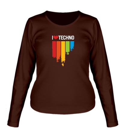 Женский лонгслив «I love Techno Colors»
