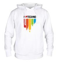Толстовка с капюшоном I love Techno Colors