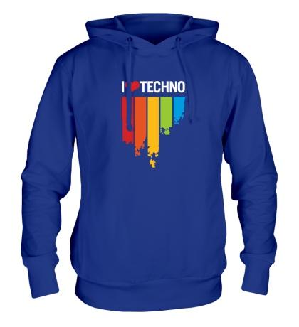 Толстовка с капюшоном «I love Techno Colors»