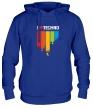 Толстовка с капюшоном «I love Techno Colors» - Фото 1