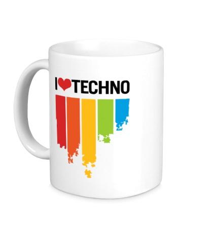Керамическая кружка I love Techno Colors