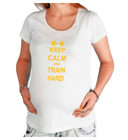 Футболка для беременной «Keep calm and train hard»