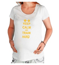 Футболка для беременной Keep calm and train hard