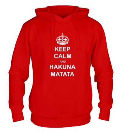 Толстовка с капюшоном «Keep calm and hakuna matata»