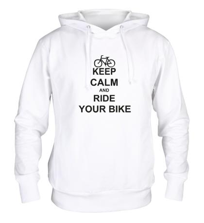 Толстовка с капюшоном «Keep calm and ride your bike»