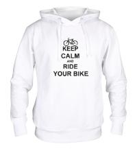 Толстовка с капюшоном Keep calm and ride your bike