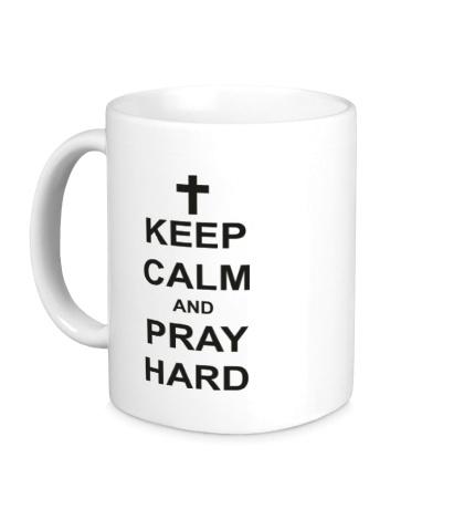 Керамическая кружка «Keep Calm & Pray Hard»