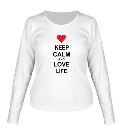 Женский лонгслив Keep calm and love life
