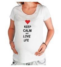 Футболка для беременной Keep calm and love life