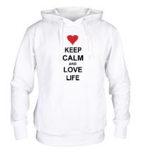 Толстовка с капюшоном Keep calm and love life