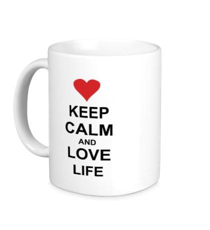 Керамическая кружка Keep calm and love life