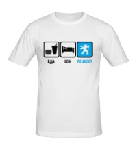 Мужская футболка Еда, сон и Peugeot