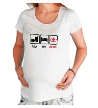 Футболка для беременной Еда, сон и Daewoo